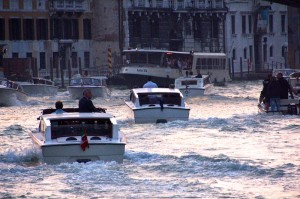 Water taxi wave motion on the Grand Canal
